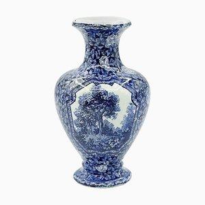 German Blue Porcelain Vase by Franz Anton Mehlem for Villeroy and Boch, 1900s