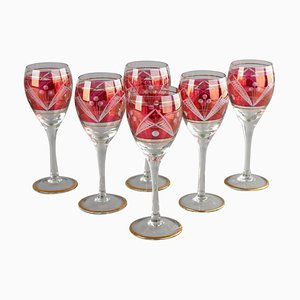 Christmas Wine Red Glasses, Germany, Set of 6