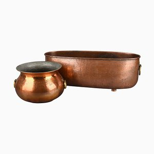 Vintage Copper Jardinière and Pot by Eugen Zint, Germany, 1950s, Set of 2