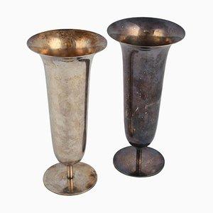 Silberne Vintage Metall Vasen von Fritz August Breuhaus de Groot, 1930er, 2er Set