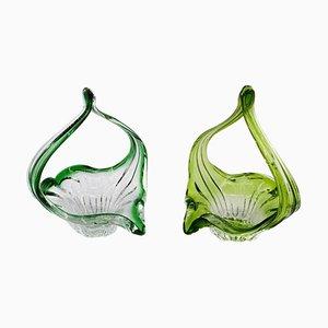 Vintage Belgian Blown Glass Baskets, 1970s, Set of 2