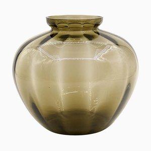 Vintage Fumé Glass Vase, Belgium, 1930s