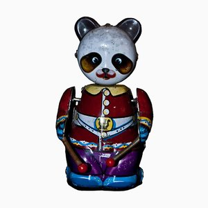 Vintage Chinese Wind up Drummer Panda Toy, 1970s