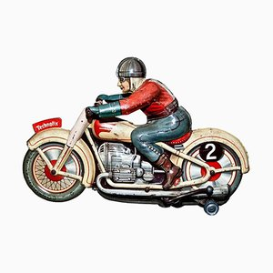 Vintage Wind up Technofix GE255 Motorradfahrer Spielzeug, 1950er