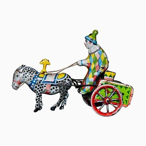 Vintage Wind up Clown on Cart and Donkey Toy, 1960s