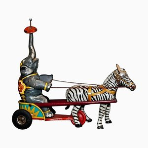 Vintage Wind up Elephant and Zebra Circus Toy, Germany, 1940s