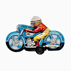 Small Vintage Japanese Motorcyclist Toy, 1960s