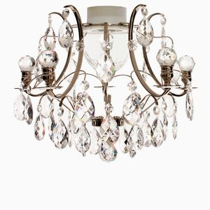 Swedish Chrome Bathroom Chandelier with Almonds and Orbs-Shaped Crystals, 1980s