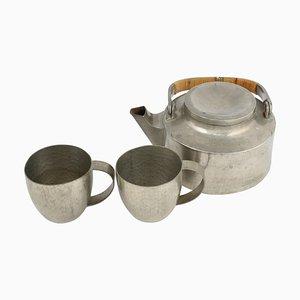 Vintage Art Deco Pewter Tea Set by Harald Buchrucker, 1940s