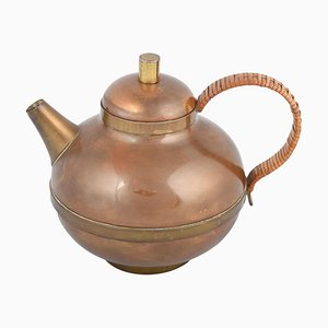 Small Vintage Copper and Brass Tea Pot by Harald Buchrucker, 1950s