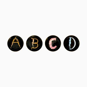 The Alphabet Ceramic Plate Set after Erté, 1986, Set of 4