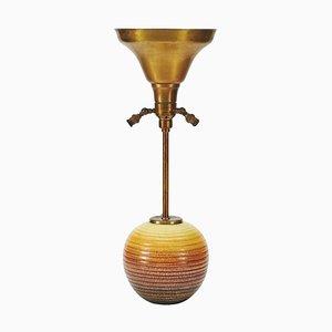 Keramik und Messing Tischlampe, 1930er