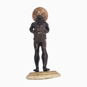 19th-Century Italian Bronze Statue of Atlas