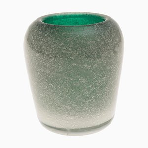 Vintage Murano Green Glass Vase by Carlo Scarpa for Venini, 1950s