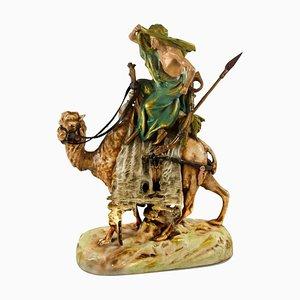Vintage Kamel aus Keramik mit Beduinen von Friedrich Goldscheider, 1920er
