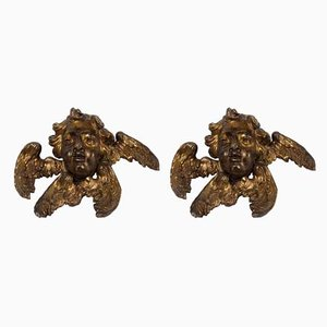 18th Century Wooden Gilded Angel Heads, Set of 2