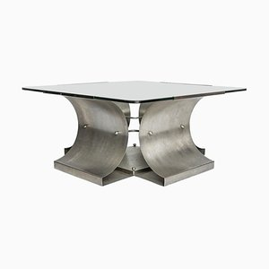 Vintage Steel Coffee Table by François Monnet, 1970s