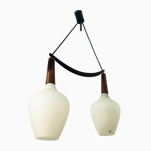 Mid-Century Danish Teak & Opaline Double Suspension Chandelier, 1960s