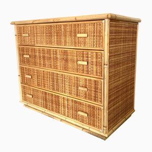 Vintage Bamboo & Rattan Chest of Drawers, 1970s