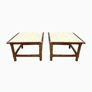 Vintage Bamboo and Travertine Coffee Tables, 1970s, Set of 2