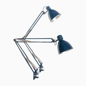 Lámpara de mesa de arquitecto española industrial azul de Fase, años 70