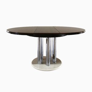 Mid-Century Chrome-Plated Metal, Mahogany & White Marble Veneer Dining Table from Livenza, 1970s
