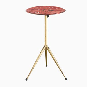 Spanish Industrial Red and Gold Lacquered Iron Auxiliary Table, 1960s