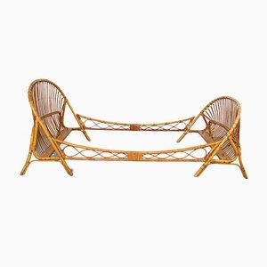 Cama doble francesa vintage de bambú y mimbre, años 70