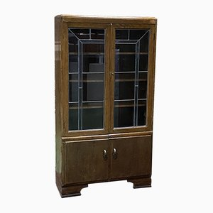 English Art Deco Oak and Stained Glass Cabinet, 1930s