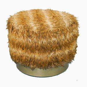 Vintage Circular Padded Pouf in Printed Fur, 1970s