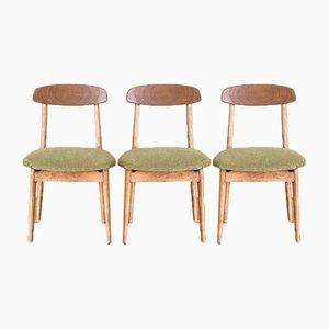 Spanish Scandinavian Style Beech & Fabric Chairs, 1960s, Set of 3