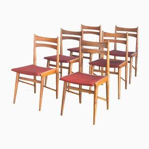 Spanish Scandinavian Style Beech & Fabric Chairs, 1960s, Set of 6