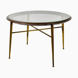 Italian School Coffee Table in Brass, Wood & Glass, 1950s
