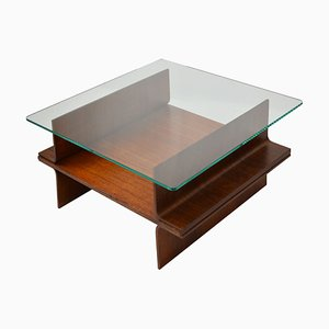 Italian School Coffee Table in Curved Wood & Glass Top, 1960s