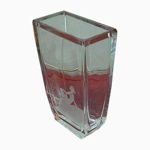 Art Deco Crystal Vase by Fritz Kallenberg for Boda, 1930s