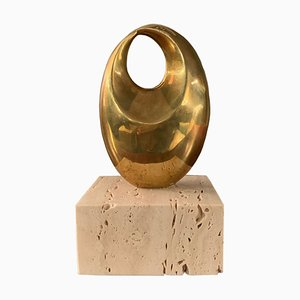 Brazilian Bronze & Travertine Miniature Oval Sculpture by Domenico Calabrone, 1970s