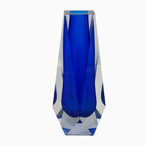 Blue Vase in Murano Glass by Flavio Poli for Seguso, 1960s