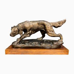 Cane da caccia antico in bronzo di Edouard Delabrierre