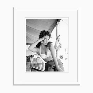 Liz Taylor on Set Archival Pigment Print Framed in White by Frank Worth