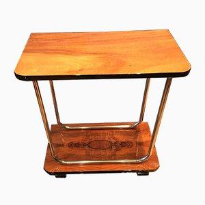Tavolino Art Deco in noce ed acciaio cromato tubolare