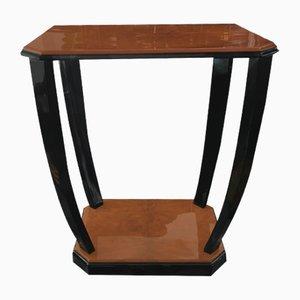 Tavolino Art Déco in legno di noce e nero