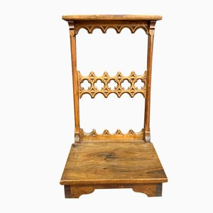 Neo Gothic Prayer Stand in Walnut Decorated with Carved Openwork Details