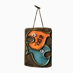 Skandinavische Fisch Keramik No. 45 Wanddekoration von Ninnie Charlotta Forsgren für Ateljé Ninnie Keramik AB, 1970er