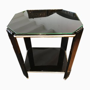 Art Deco Side Table in Black High Gloss Lacquer and White Gold