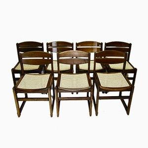 Sedie da pranzo in noce e vimini, anni '50, set di 7