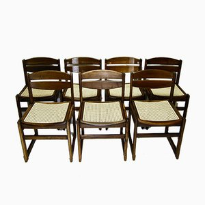 Walnut and Rattan Dining Chairs, 1950s, Set of 7