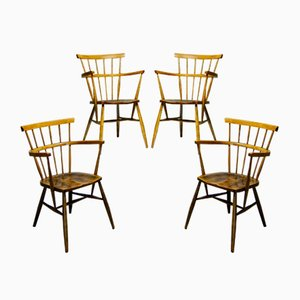 Wooden Windsor Lounge Chairs, 1960s, Set of 4