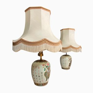 Chinese Porcelain Table Lamps with Pagoda Style Lampshades, 1920s, Set of 2