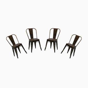 Französische Mid-Century Esszimmerstühle aus verzinktem Metall von Xavier Pauchard für Tolix, 1970er, 4er Set