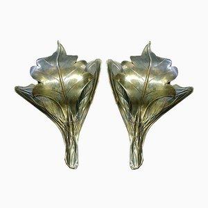 Art Nouveau Brass Sconces, Set of 2